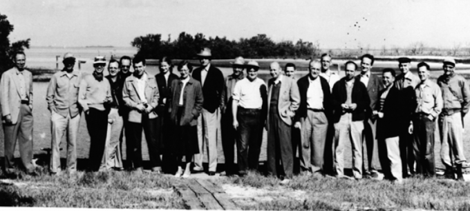 Early College of Medicine faculty, including Maren, at Ceder Key in 1955.