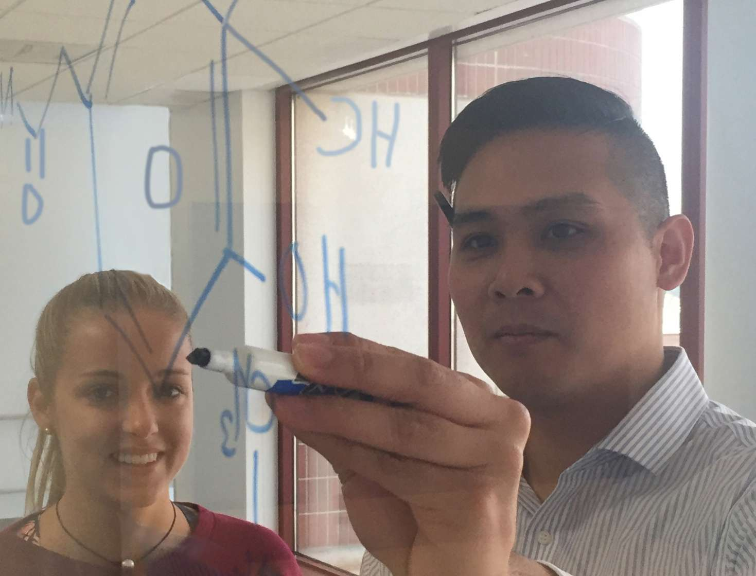 Trainees draw out molecular structures in the department's PHARMHouse.